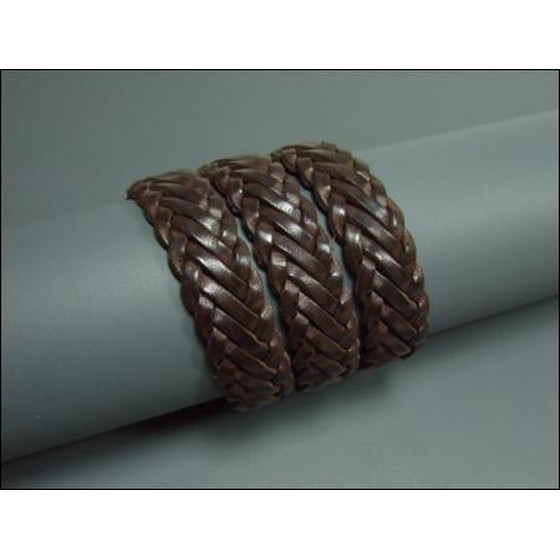 Leather cord flat braided Ø15,0mm x 4mm - darkbrown