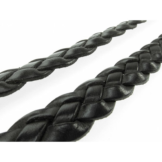 Leather flat braided 15,0x4,2mm - black