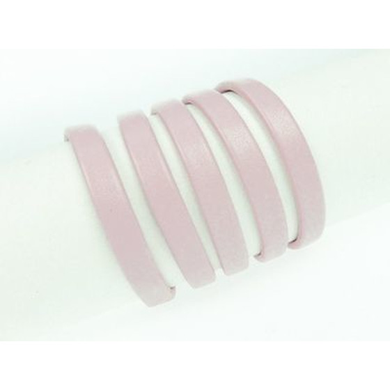 Recycled Leather folded approx. 6,0mm x 2,5mm - rose