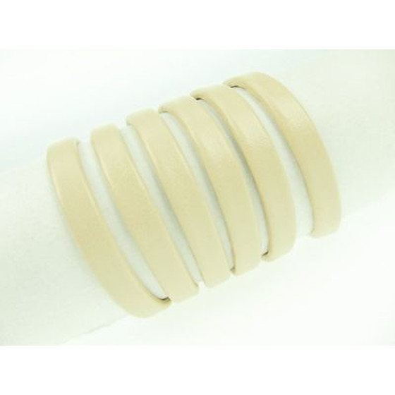 Recycled Leather folded approx. 6,0mm x 2,5mm - light beige