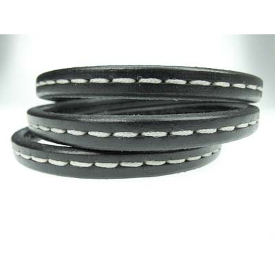 Leather cord oval w. stitching 10mm x 6mm - black