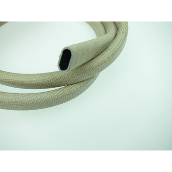 Leather cord oval w. lizard print 10mm x 6mm - light beige