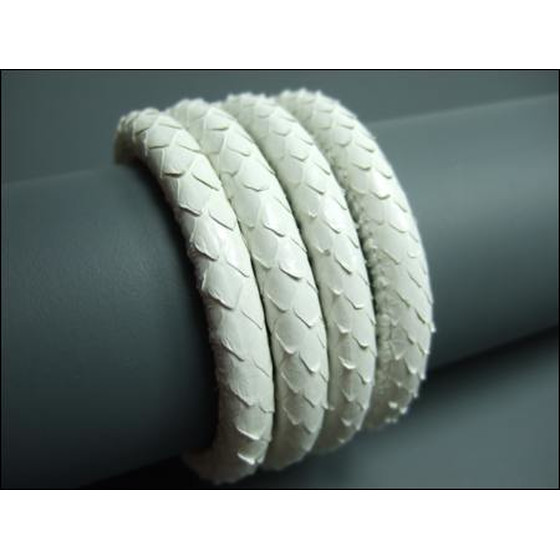 Snake leather round stitched Ø6,0mm - white