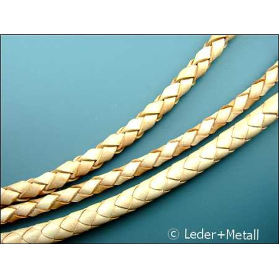 Round braided leather cord Ø3,0mm - natural