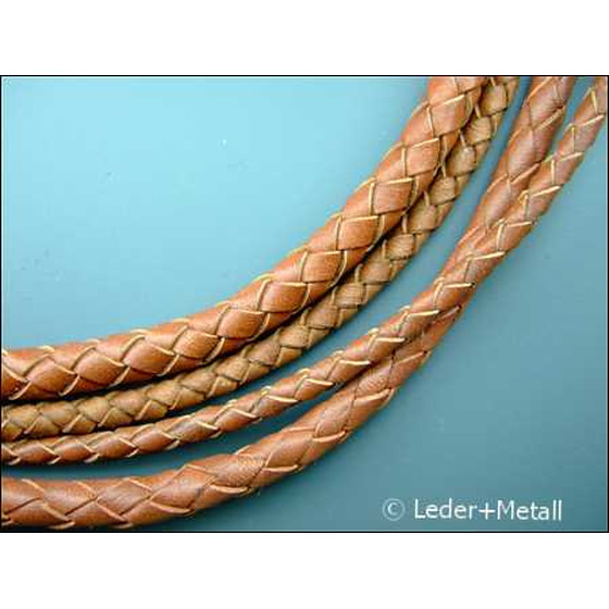 Round braided leather cord Ø3,0mm - light brown