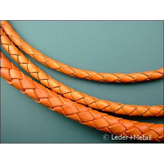 Round braided leather cord Ø6,0mm - orange