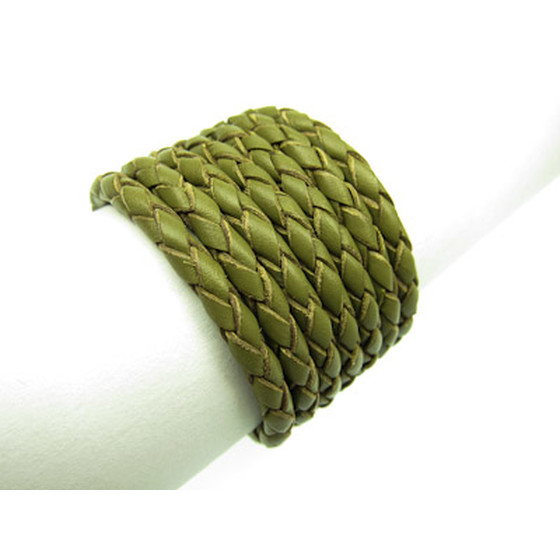Round braided leather cord Ø3,0mm - olive