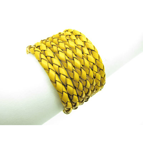 Round braided leather cord Ø3,0mm - yellow