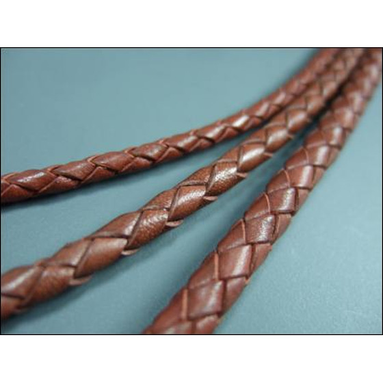 Round braided leather cord Ø8,0mm - saddle brown