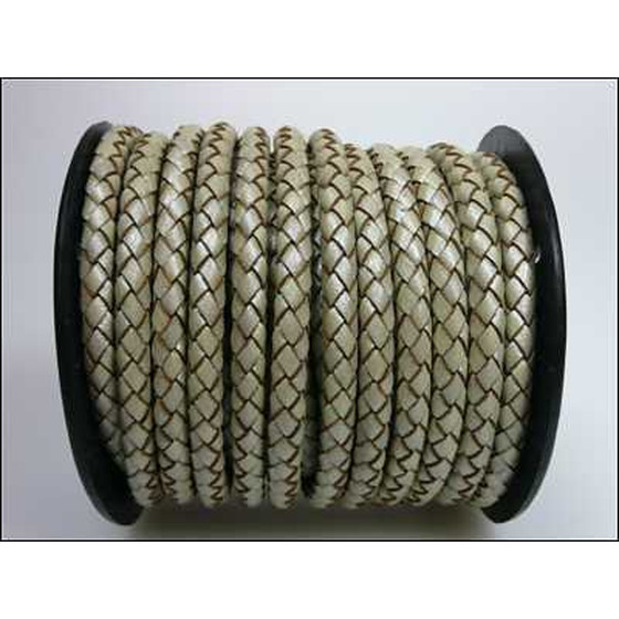 Round braided leather cord Ø4,0mm - pearl (metallic)