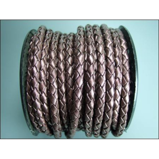 Round braided leather cord Ø2,5mm - bordeaux (metallic)
