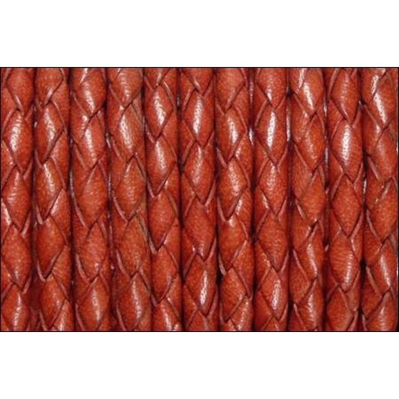 Round braided leather cord Ø8,0mm - coral red