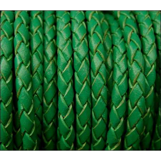 Round braided leather cord Ø3,0mm - green
