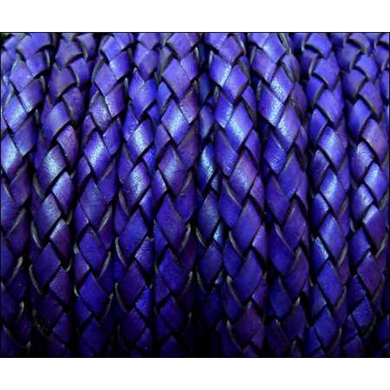Round braided leather cord Ø4,0mm - purple