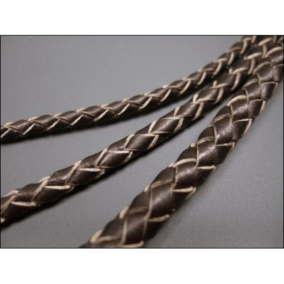 Round braided leather cord Ø4,0mm - chocolate (metallic)
