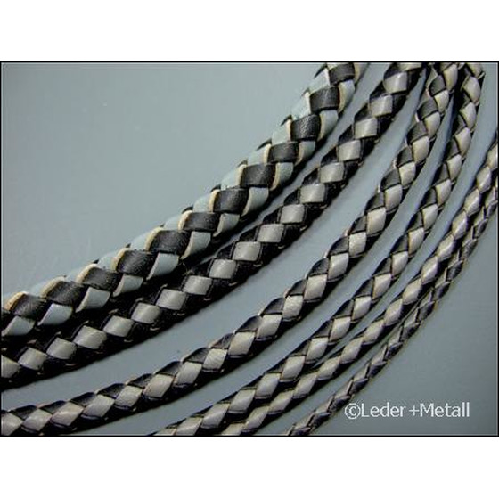Round braided leather cord Ø3,0mm - black+grey