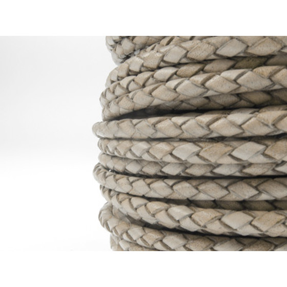 Round braided leather cord Ø2.5mm - antique grey