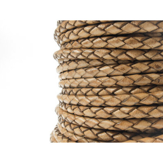 Round braided leather cord Ø2.5mm - antique light brown