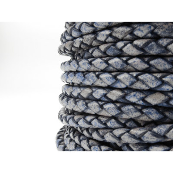 Round braided leather cord Ø3.0mm - antique blue
