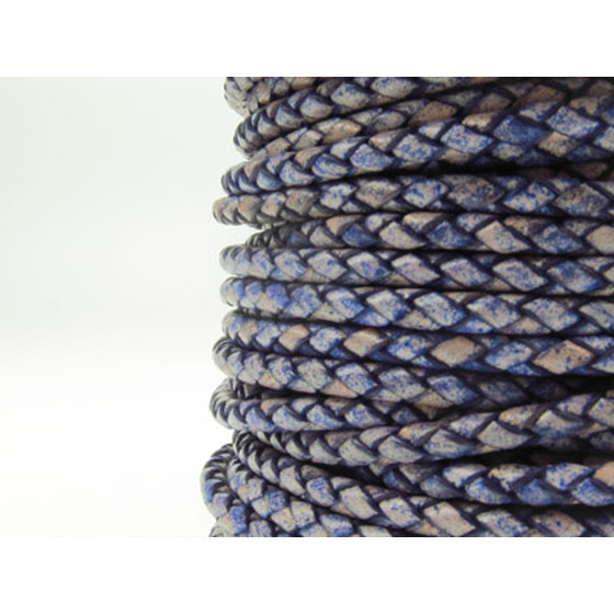 Round braided leather cord Ø2.5mm - antique violet