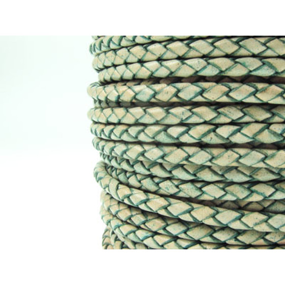 Round braided leather cord Ø3.0mm - antique turquoise