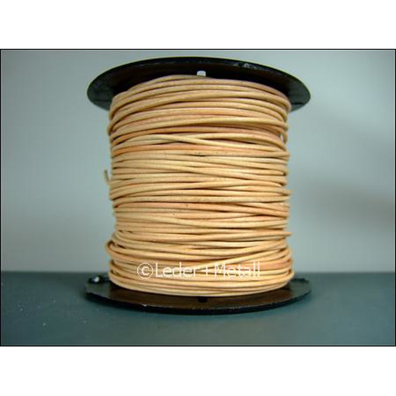 25 Mtr. Round leather cord Ø1,0mm - natural