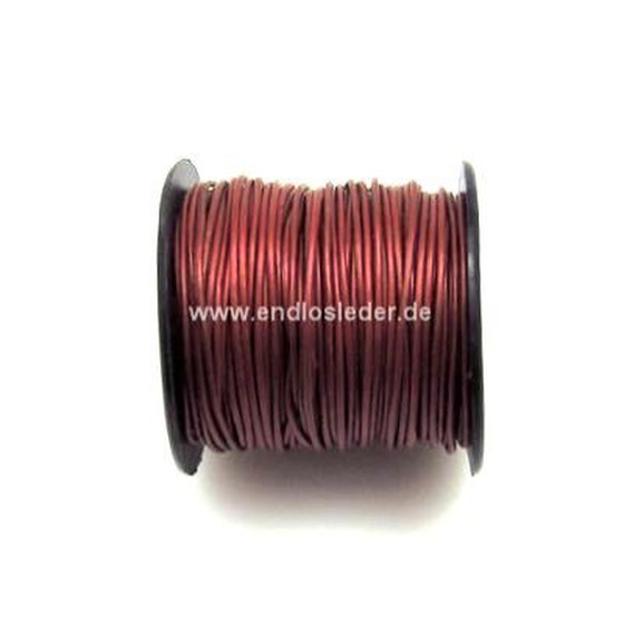 25 Mtr. Round leather cord Ø1,0mm - cranberry (metallic)