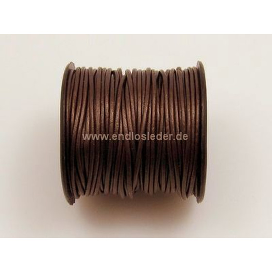 25 Mtr. Round leather cord Ø1,5mm - chocolate (metallic)
