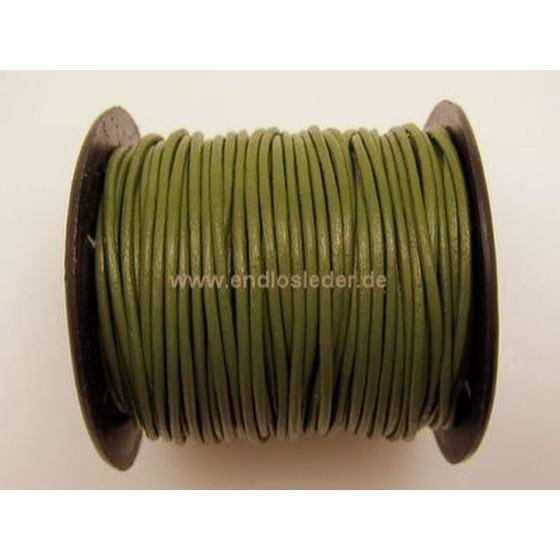 25 Mtr. Round leather cord Ø2,0mm - olive