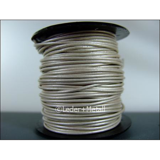 25 Mtr. Round leather cord Ø3,0mm - pearl (metallic)