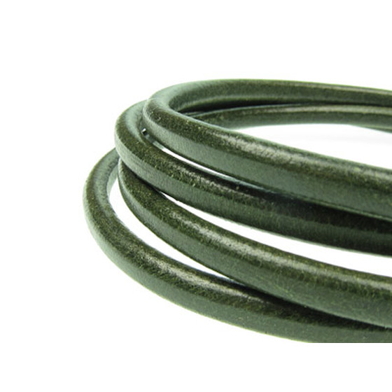 Round leather cord, high quality Ø2,0mm - racing green