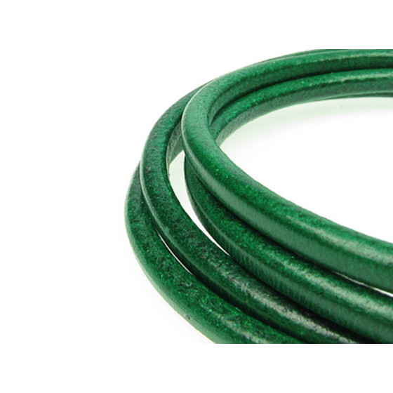 Round leather cord, high quality Ø2,0mm - emerald