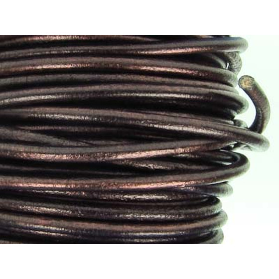 Leather cord, high quality Ø 3,0mm - brown (metallic)