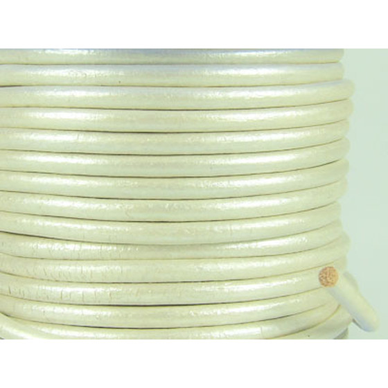 Leather cord, high quality Ø 4,0mm - pearl (metallic)