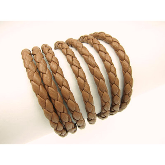 Nappa round braided, superior quality Ø4,0mm - light brown