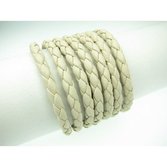 Nappa round braided, superior quality Ø4,0mm - creme