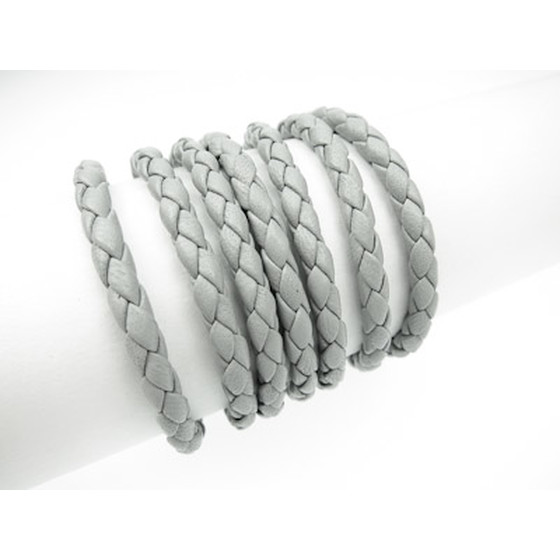 Nappa round braided, superior quality Ø4,0mm - light grey