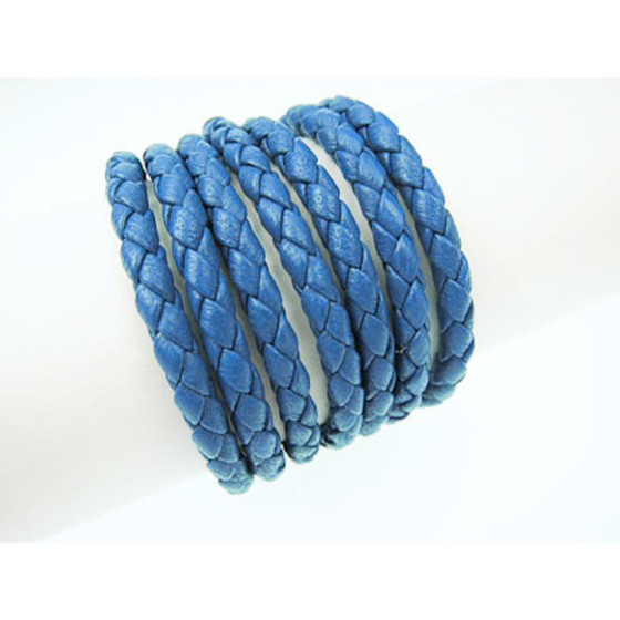 Nappa round braided, superior quality Ø4,0mm - blue
