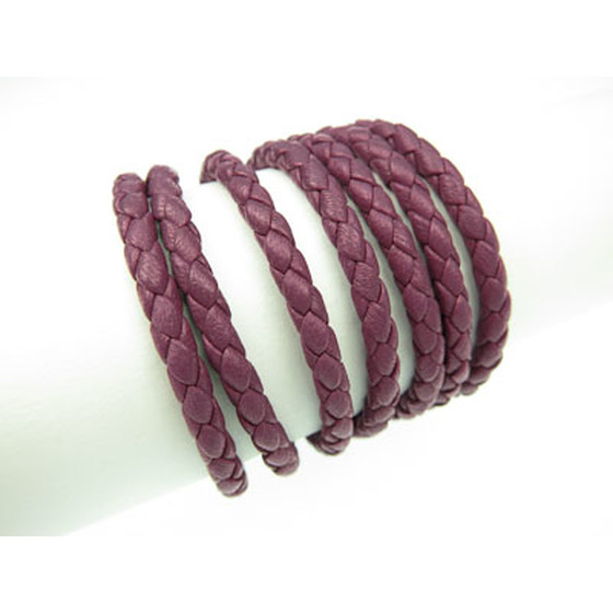 Nappa round braided, superior quality Ø4,0mm - barberry