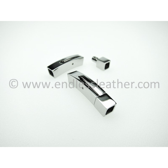 Closure square, stainless steel, polish, inside-4,0x4,0mm