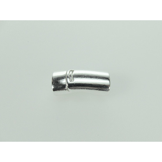 Magnetic Closure Pewter, halfround, 10x5mm - Silver Plated