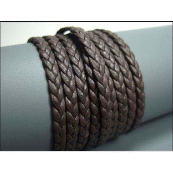 Nappa flat braided, superior quality Ø4,0mm x 2,0mm - darkbr