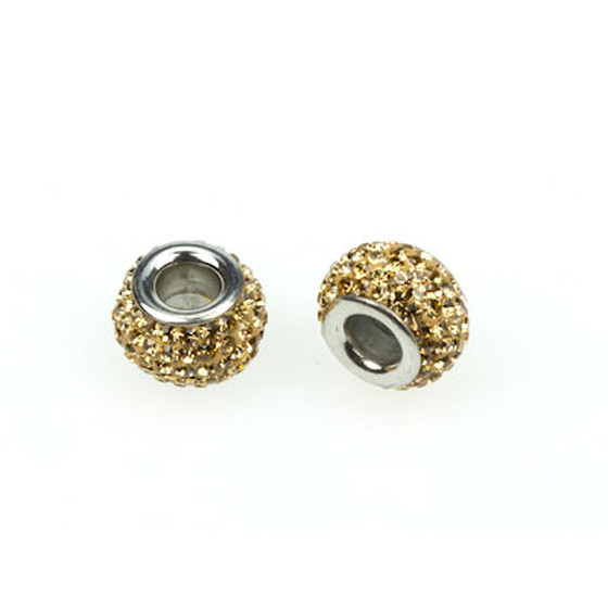 Big hole bead with rhinestones, Ø-inside 4,4mm - beige
