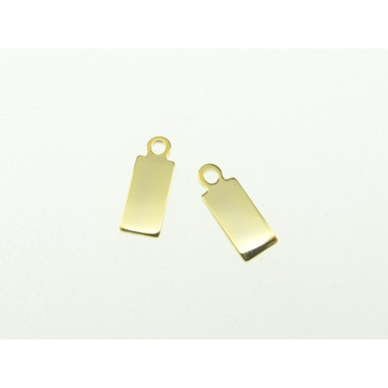 Jewelry Tag gold plated stainless steel, 8,0x4,0mm