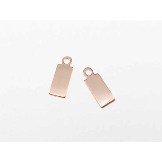 Jewelry Tag rose gold plated stainless steel, 8,0x4,0mm