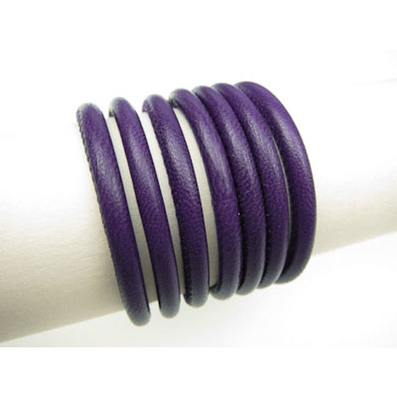 Nappa round stitched Ø5,0mm - purple