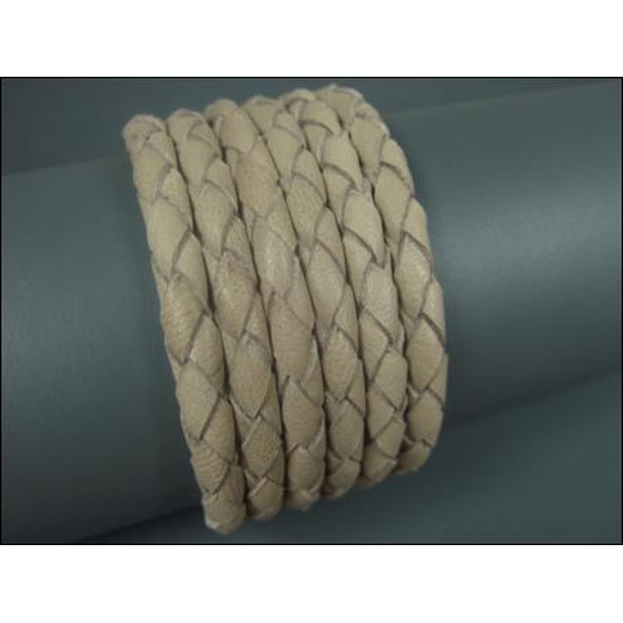 Nappa round braided, very soft Ø4,0mm - beige