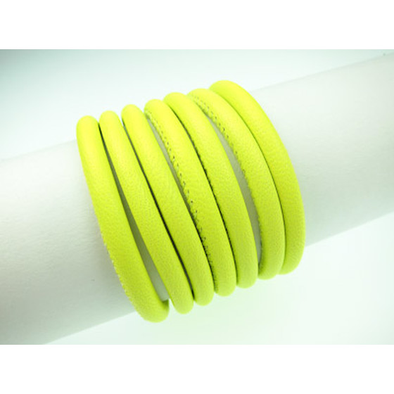 Nappa round stitched Ø4,0mm - neon yellow
