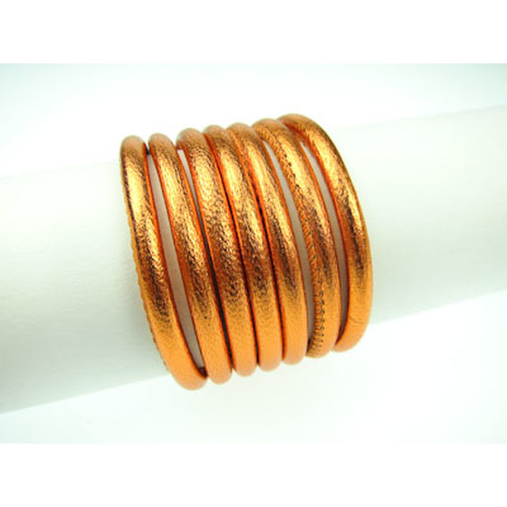 Nappa round stitched Ø4,0mm - orange (metallic)
