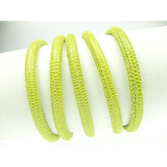 Leather with lizard print, round stitched Ø4,0mm-lemon green